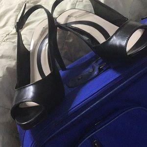 Apt. 9 Black Leather Peep Toe High Heels 8 1/2 M